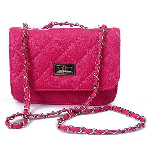HDE Quilted Crossbody Handbag with Metal Chain Strap (Hot Pink) $16.98 #Pink #Handbag