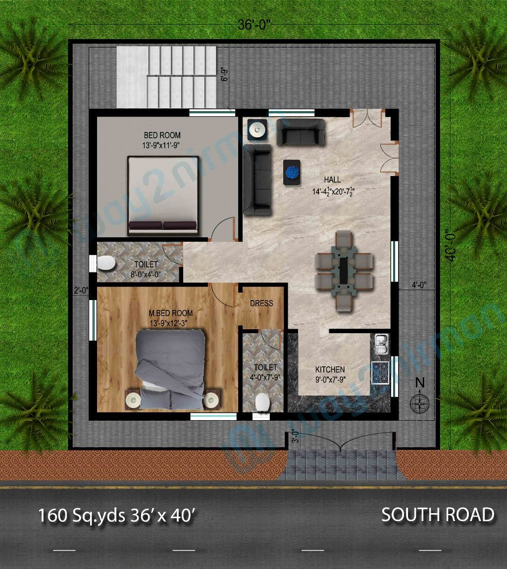 160 sq yds 36x40 sq ft south face house 2bhk floor plan 160 sq yds 36x40 sq ft south face house 2bhk floor plan