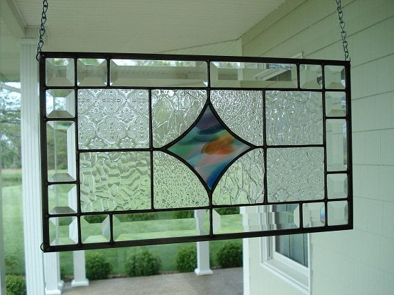 Stained Glass Window Panel Clear Textured & Beveled on Etsy, $95.14 CAD