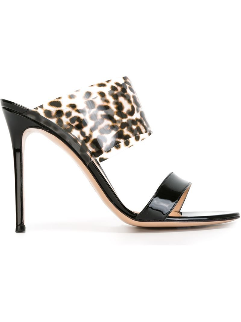 60a0d948498 Black and beige leather double band mules from Gianvito Rossi featuring an  open toe