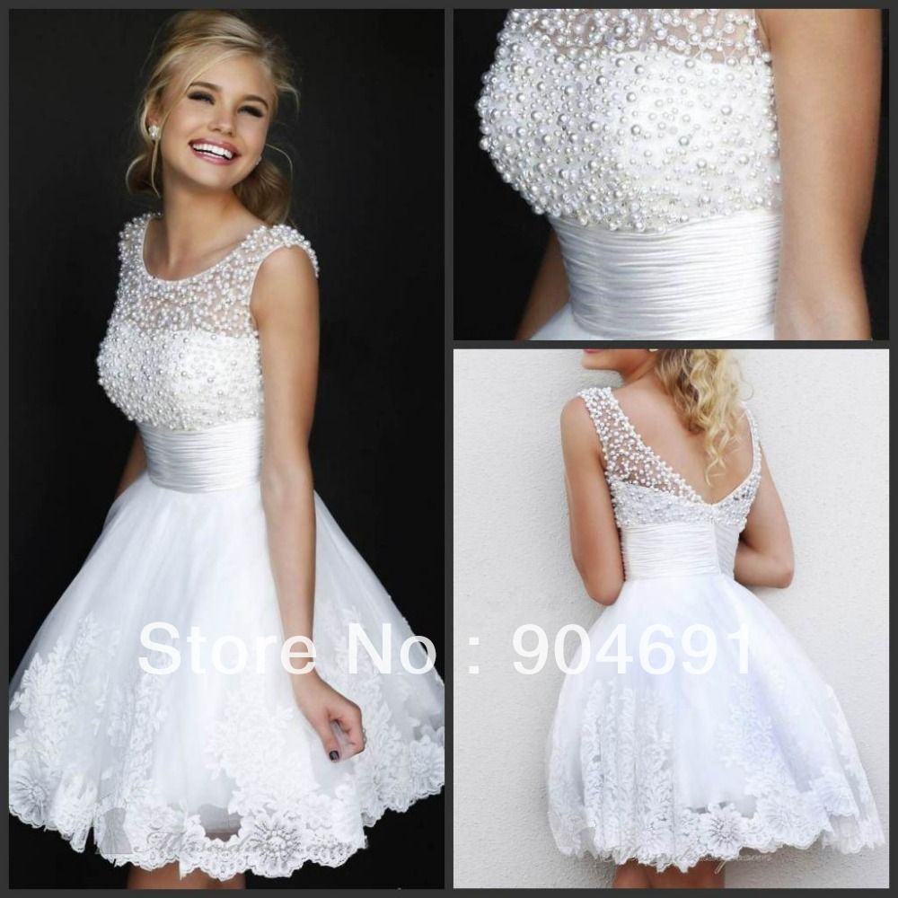 2014 New Wedding Gown CAP Sleeves Round Neck Lace Short Bridal Dress ...
