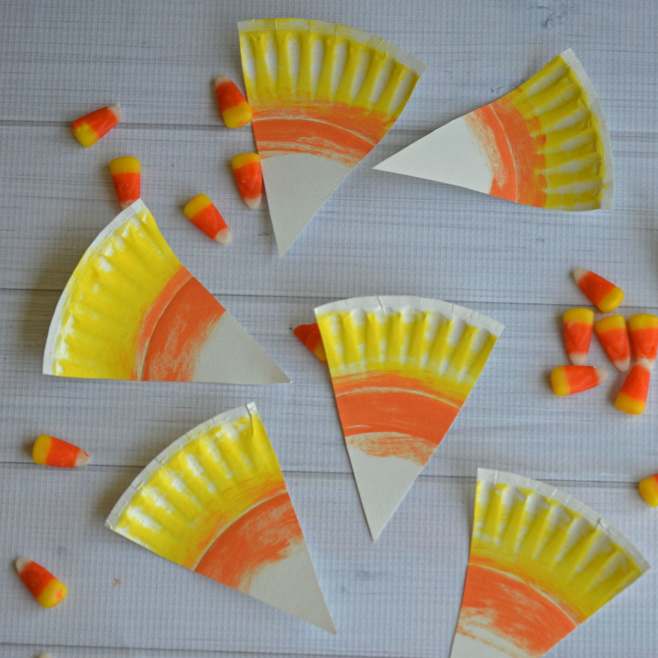 Paper Plate Candy Corn Kid Craft