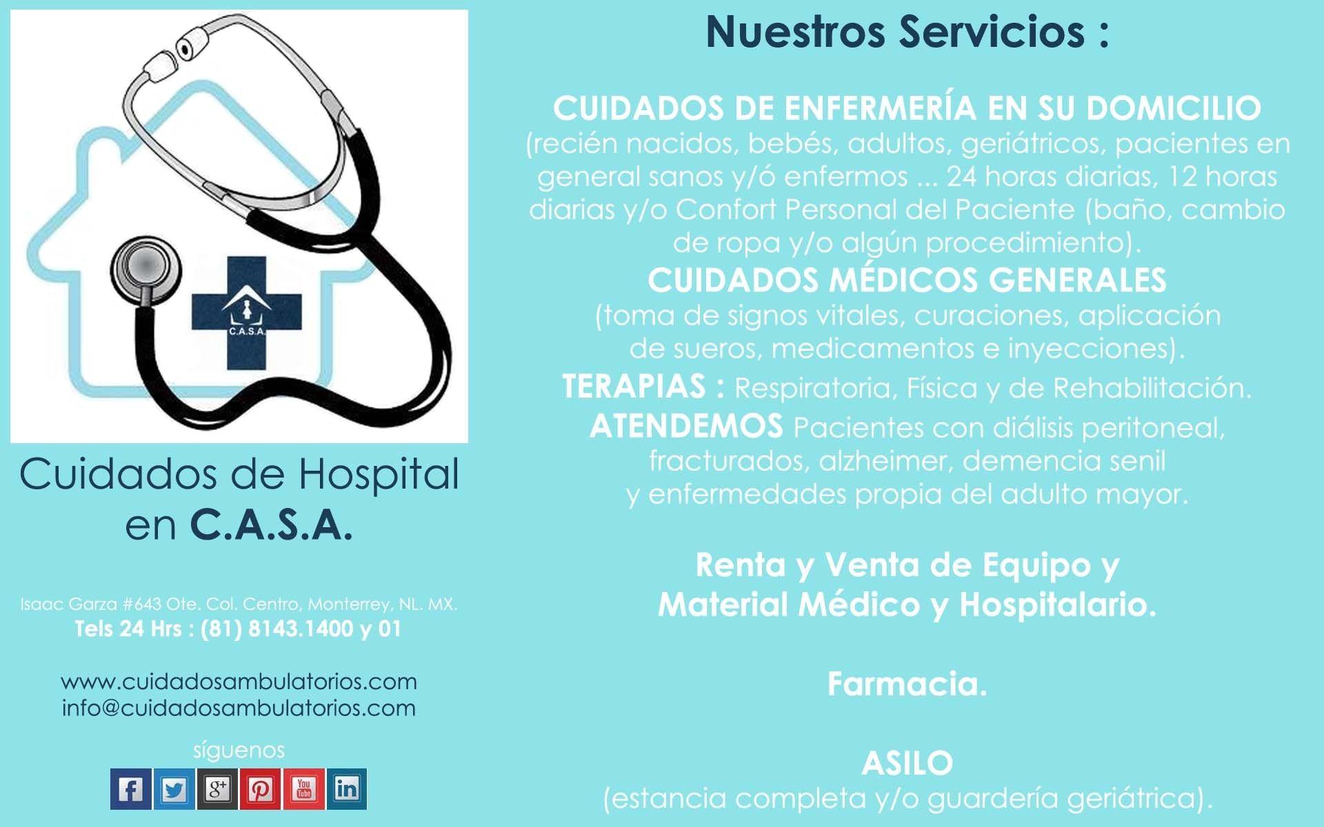 ENFERMERAS PROFESIONALES EN C.A.S.A. ... 24/7 los 365 días del año ... @CuidadosAmbulatorios