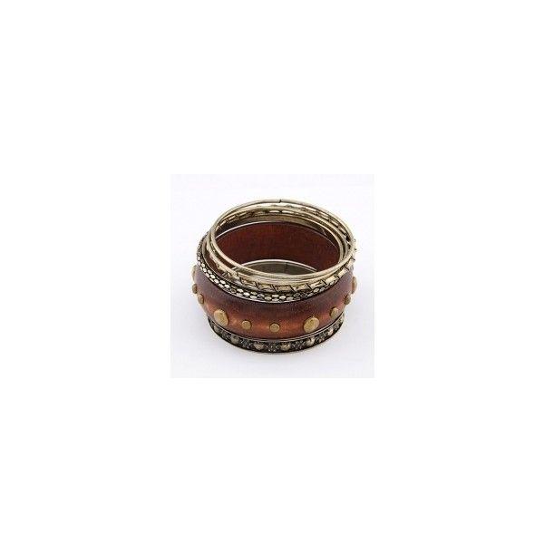 Brown Fashion Fangmu Retro Multilayer Bracelet 11041570 via Polyvore
