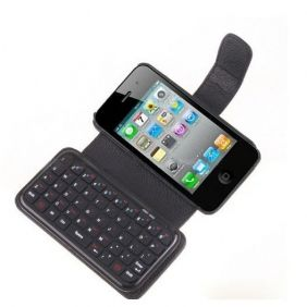 Portable Mini wireless Bluetooth Keyboard Leather Case Cover for iPhone4 4S