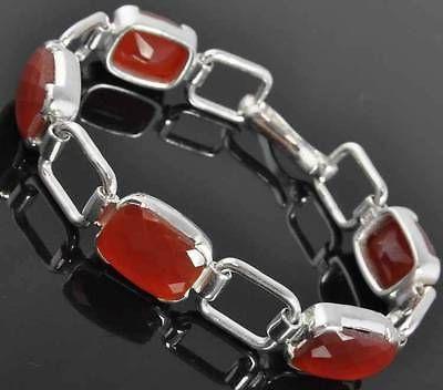 """New Sterling Silver Cushion Cut Carnelian Open Rectangle Panel Link Bracelet 7"""""""