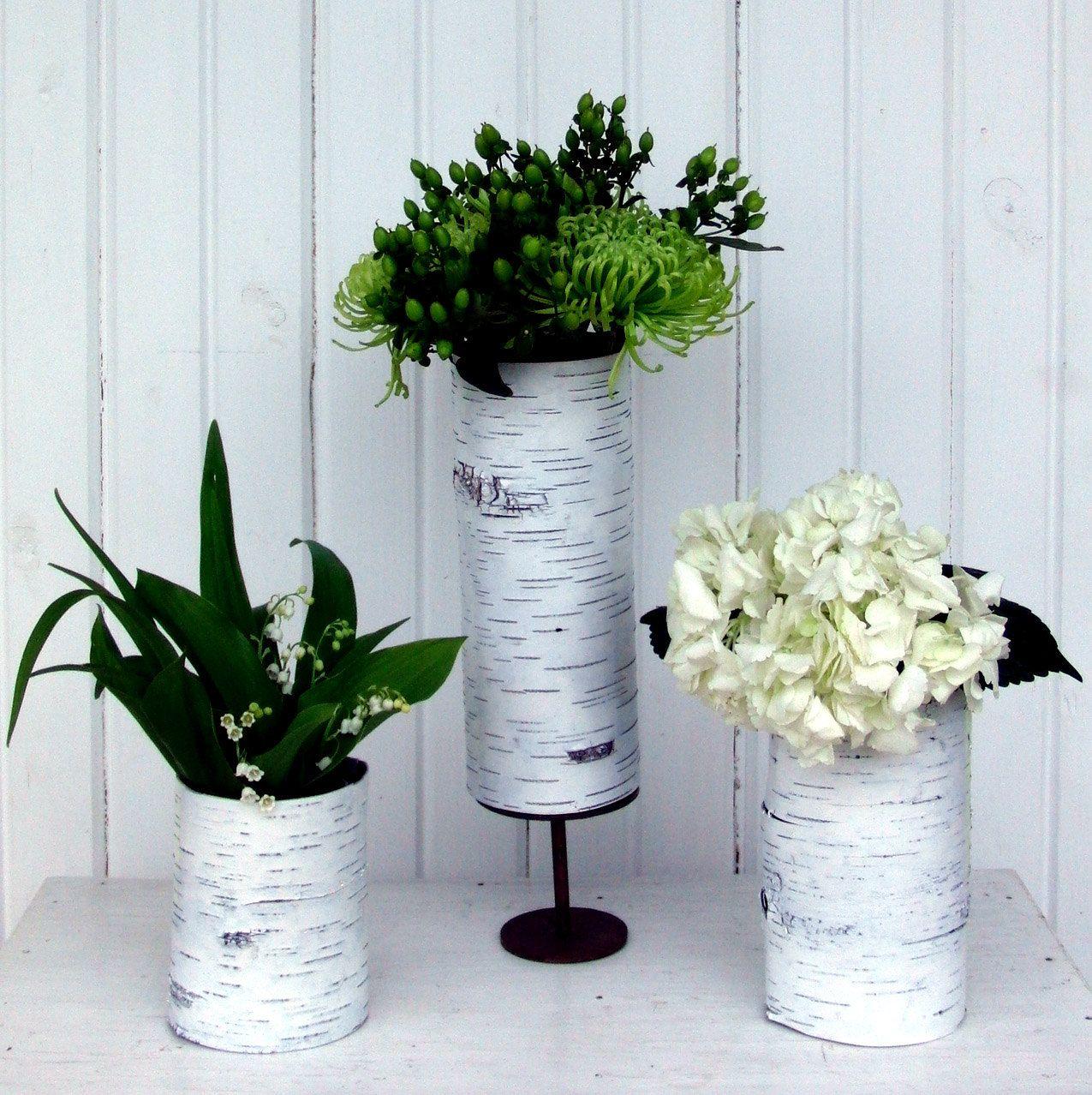 White Birch Wedding Decorations Set Of 3 Bark Vases In Blanc By Bettula On Etsy