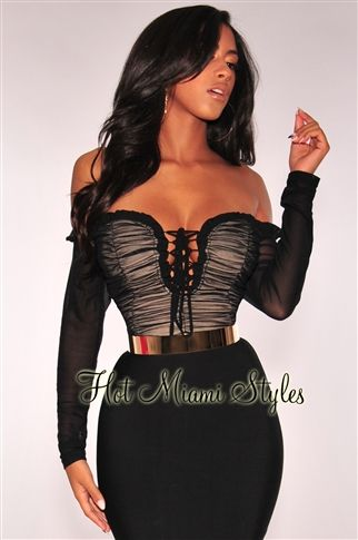 22153130f49 Get your sultry side to speak with this flirty black ruched mesh off  shoulder crop top.