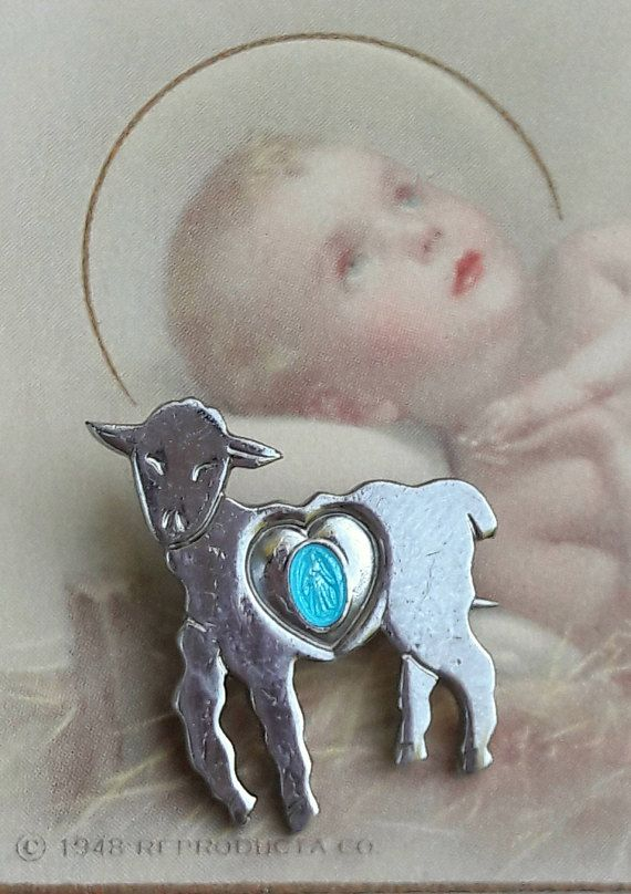 Charming Lamb Miraculous Medal Pin Virgin Mary Our Lady Of Grace