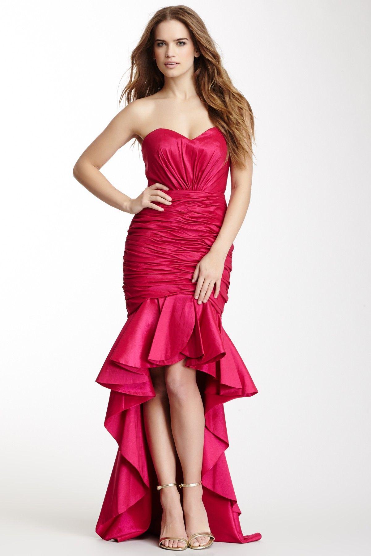 Dalia MacPhee Long Strapless Wide Peplum Ruffle Trim Dress