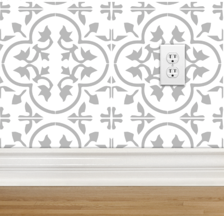 Encaustic Tile Cement Tile Light Gray On White Wallpaper Fabric Indonesia Morocco Moroccan Mexican Tile Mexican Tile Floor Light In The Dark Borders For Paper