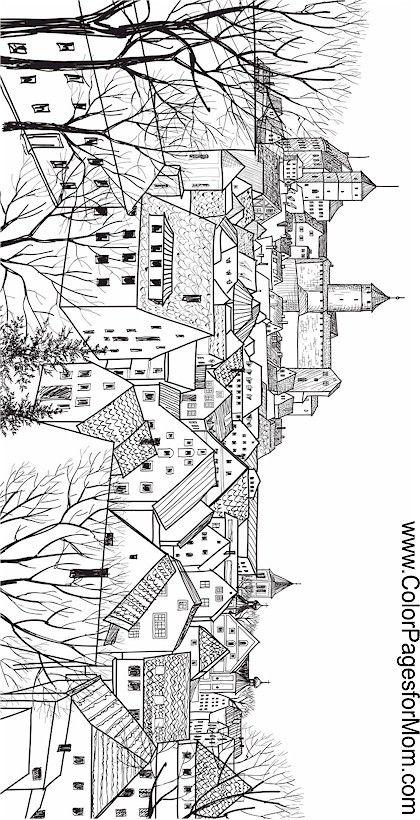 landscape buildings coloring page | 풍경 | Pinterest | Landscaping ...