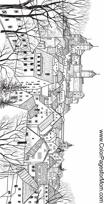 Landscape Buildings Coloring Page Colorful Landscape Coloring