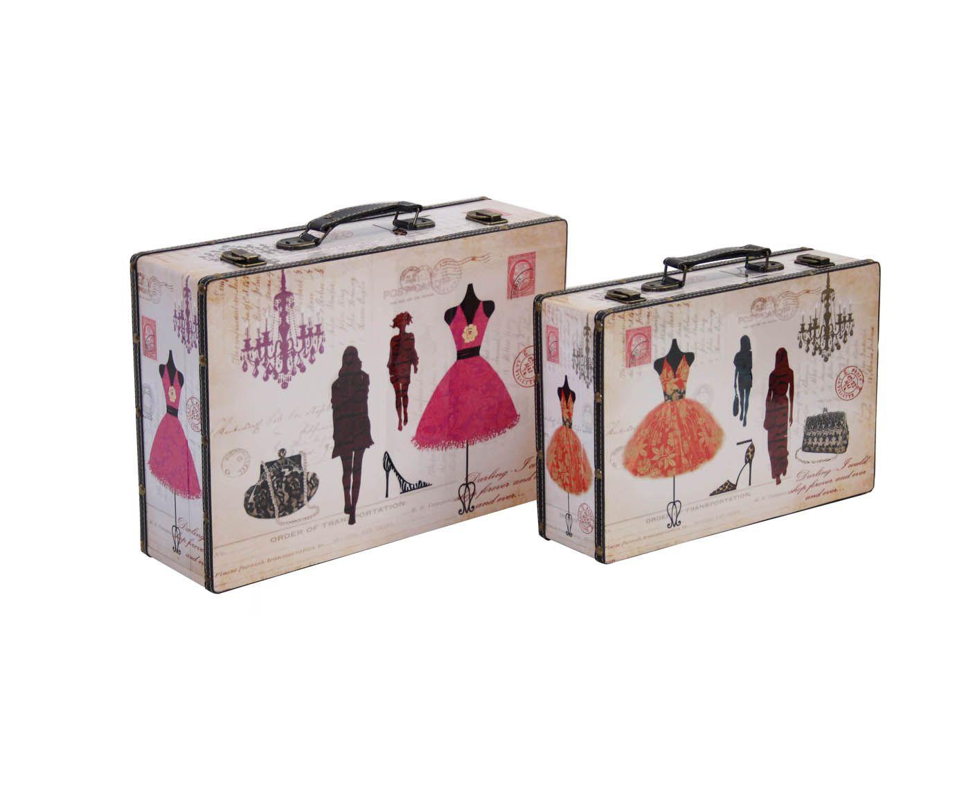 Montmartre - wooden suitcases -  42X12X31 cm and 37.5X10.5X25 cm