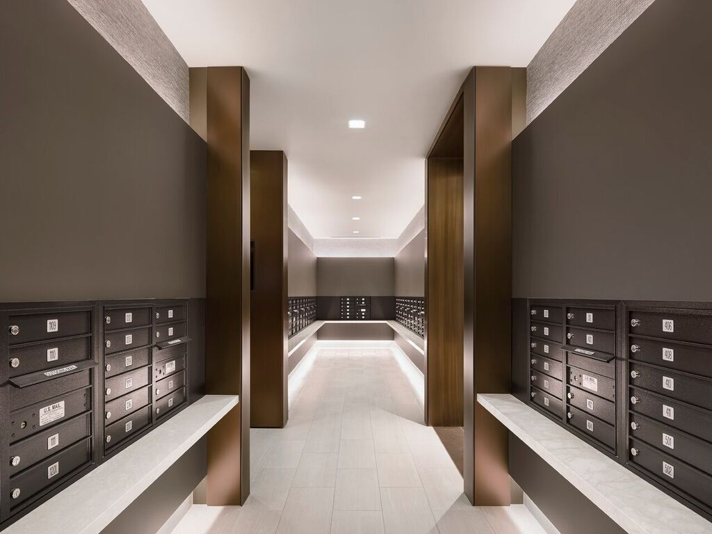 Jersey City Nj With A Soothing Color Palette And Alternatively Textured And Reflective Materials Fogart Lobby Interior Design Apartment Entrance Lobby Design