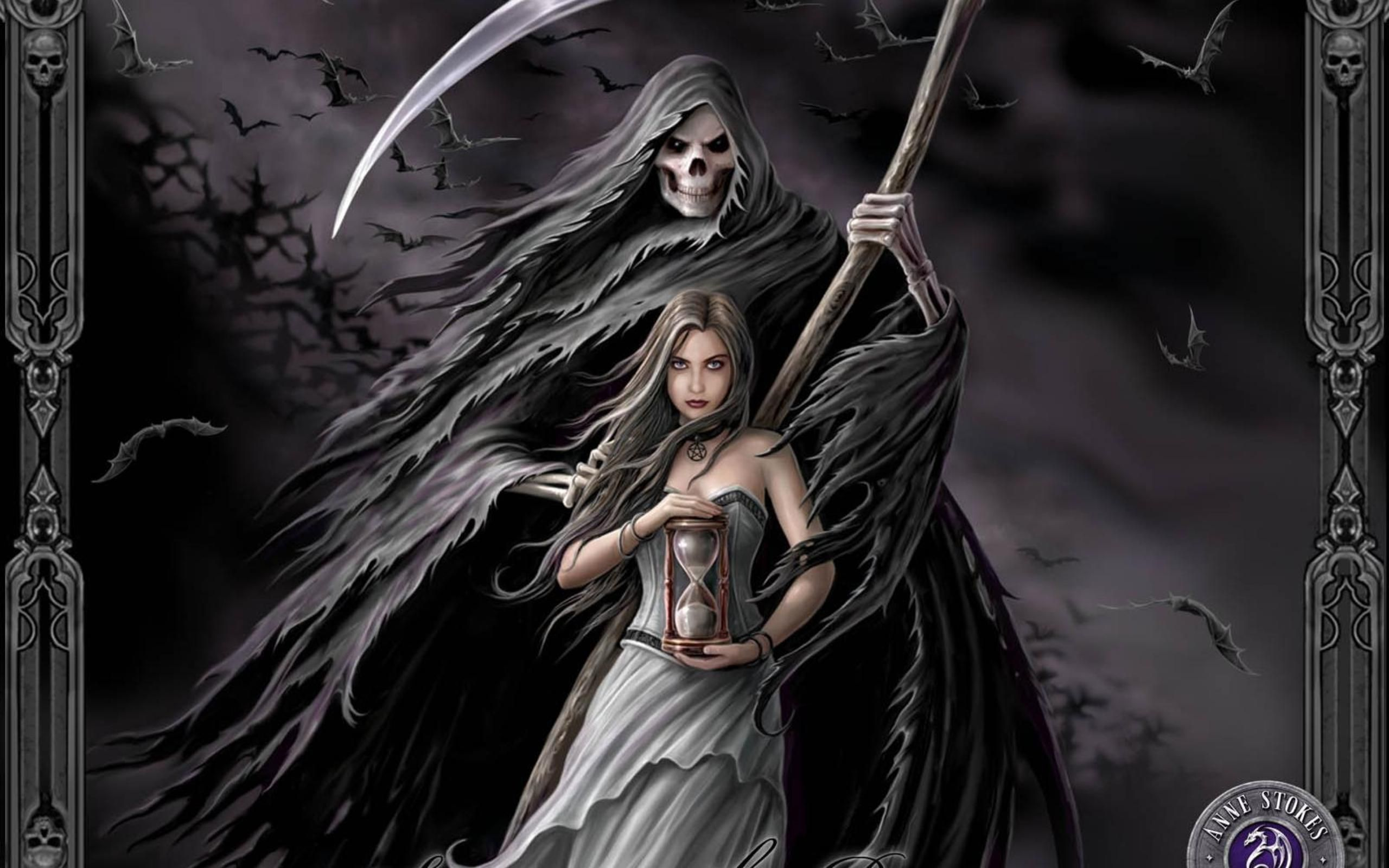 Grim Reaper With A Young Fantasy Girl Jpg 2560 1600 堕天使 ファンタジーアート イラスト