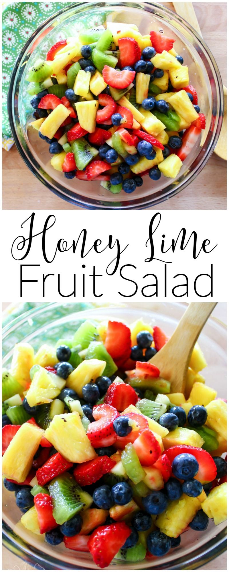 A rainbow blend of fruit, combined with a sweet and tart dressing makes this honey lime fruit salad a sure to be hit at any Summer cookout