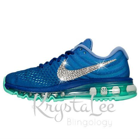 Womens Nike Air Max 2017 Concord Blue Custom Bling Crystal Swarovski  Sneakers, Running Shoes,
