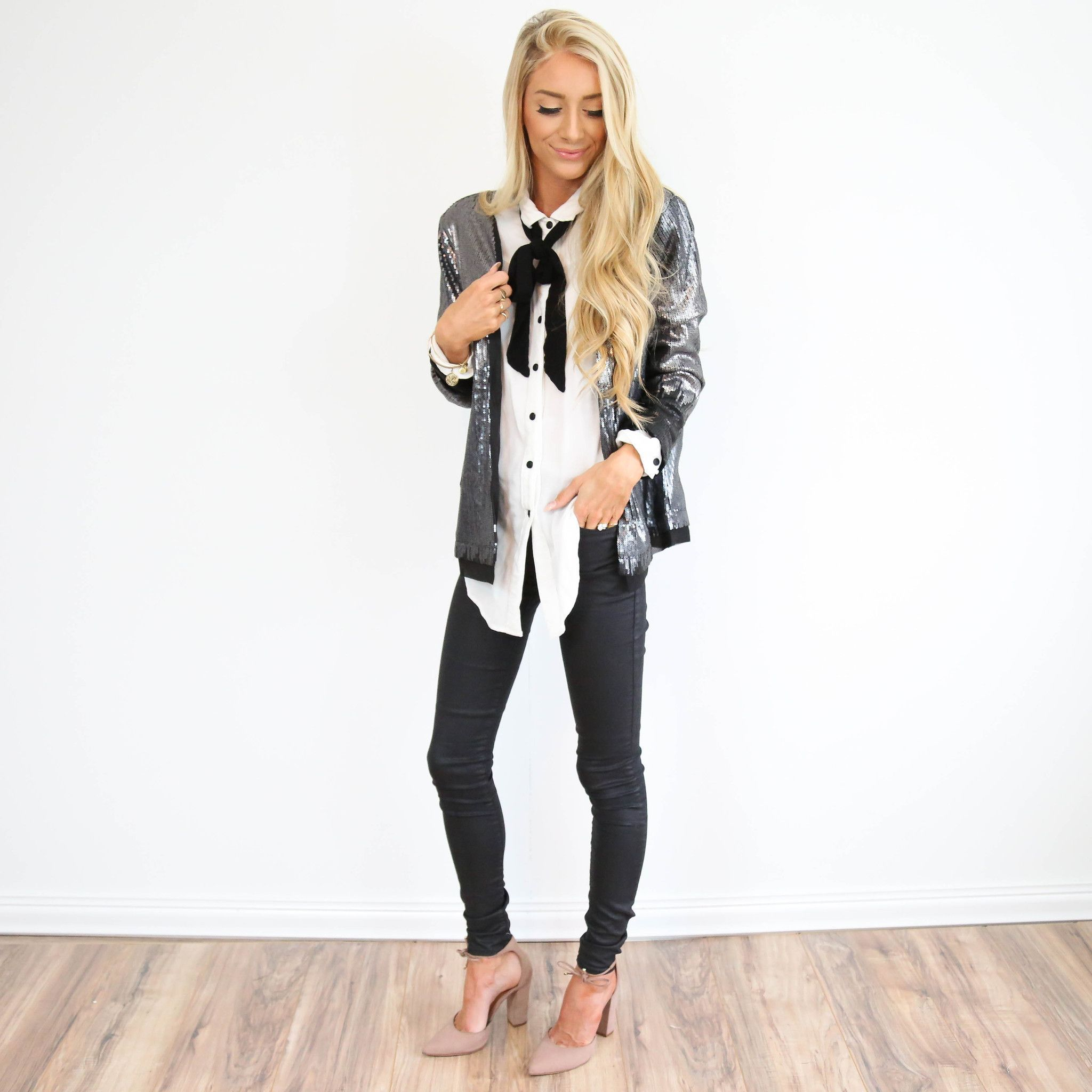 This jacket is such a great piece for the season! This is my outfit for new years! Hence the name :) I'm 5'3 wearing size small 100% Polyester dry clean only