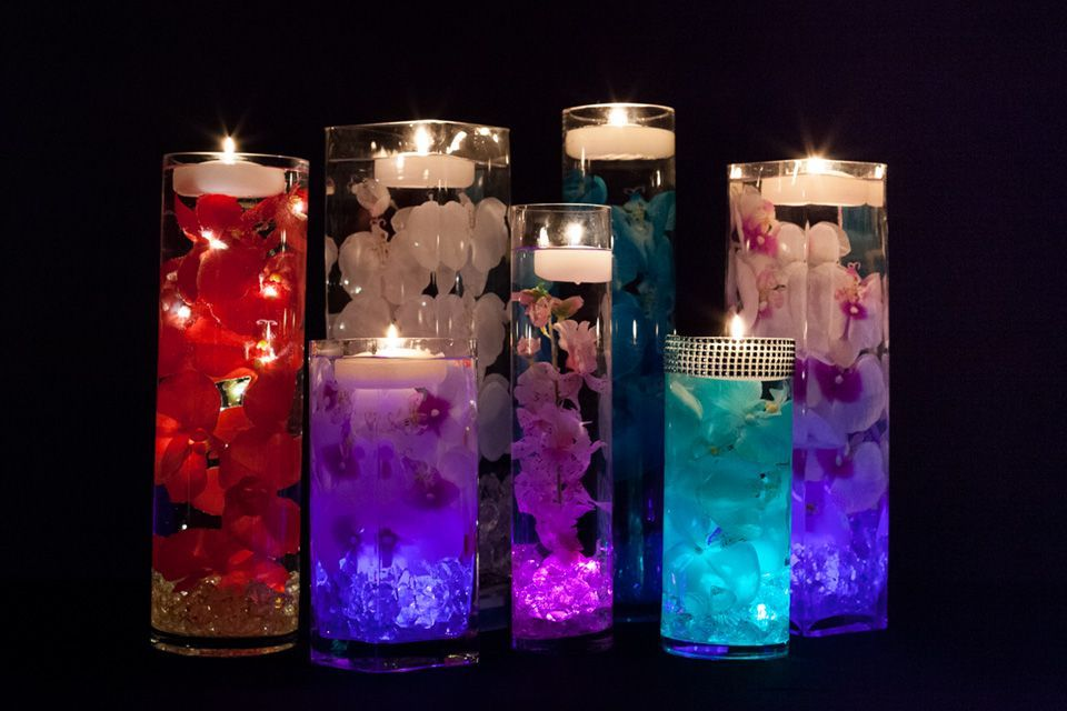 Floral Centerpieces With Led Lights And Floating Candles Cheap Wedding Centerpieces Floating Candles Wedding Floral Centerpieces