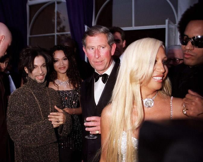 #Prince and Mayte his wife, Prince Charles, Donatella Versace and Lenny Kravitz! Legendary #1999