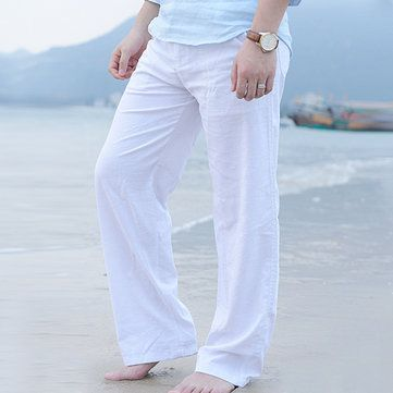 Mens Spring Summer Linen Solid Color Casual Soft Long Trousers Drawstring Flax Leisure Pants