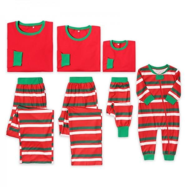 $2199 Stripes Contrast Christmas Family Matching Pajamas Set