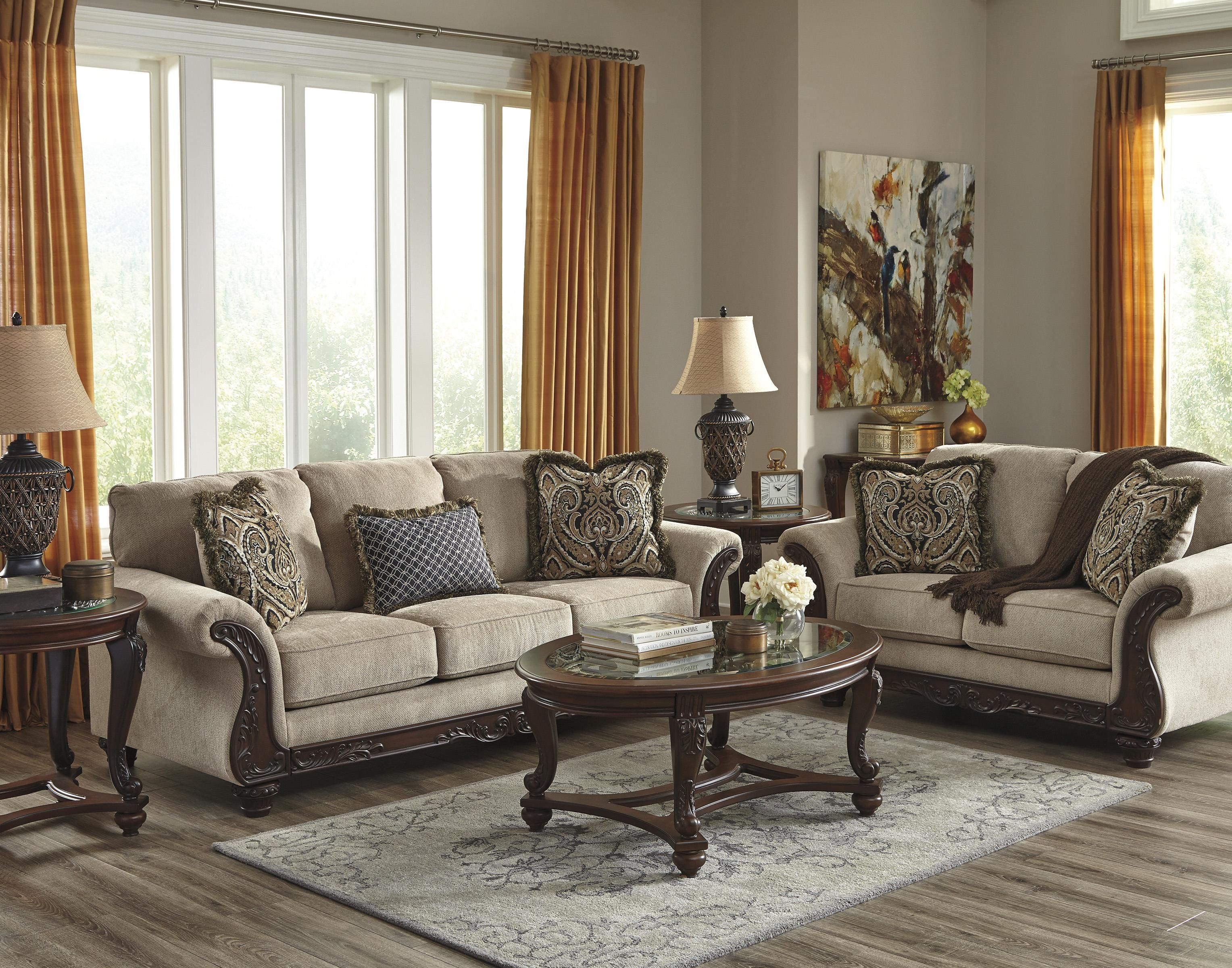 Benchcraft Laytonsville Traditional Sofa With Ornate Rolled Arms Sam S Appliance Furniture Sofa Living Room Sets Furniture Sofa Loveseat Set