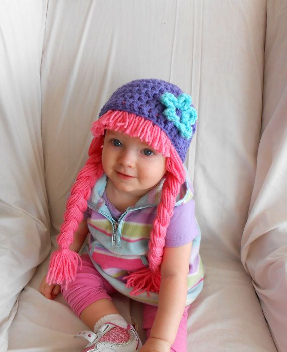 2e46f40b365 Baby Hats Photo Props Baby Costumes Pink Wigs Pigtail Wig on Etsy
