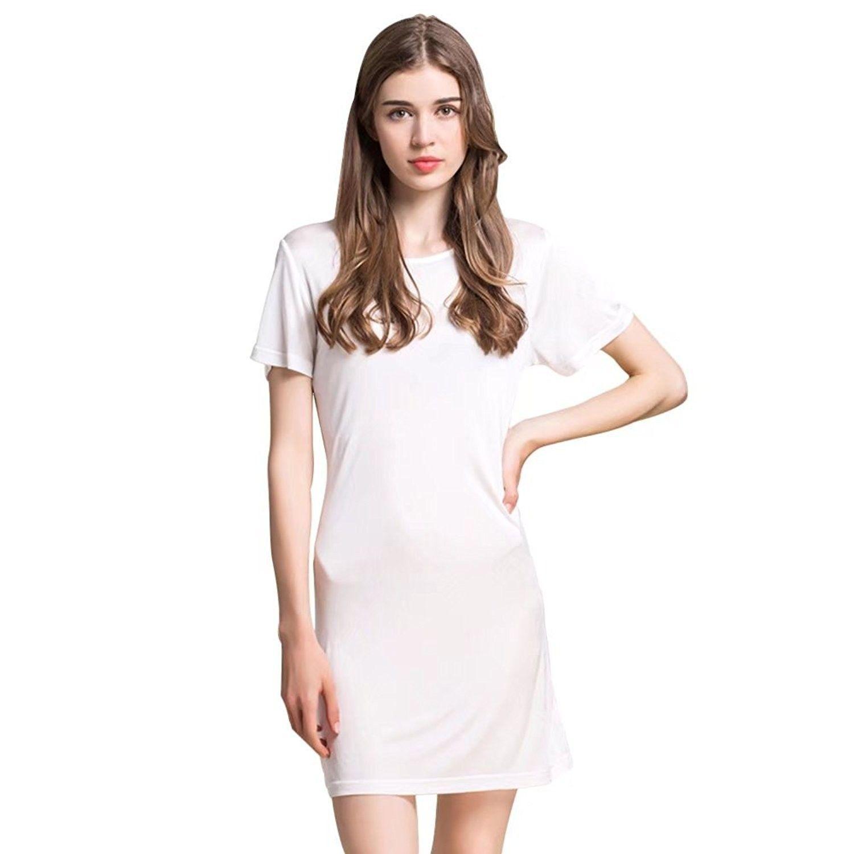 5402aa62c6 100% Mulberry Silk Knit Nightgown Long Short Sleeve Sleep Dress T Shirt  Sleepwear - White - CY185U9R7TZ,Women's Clothing, Lingerie, Sleep & Lounge,  Sleep ...