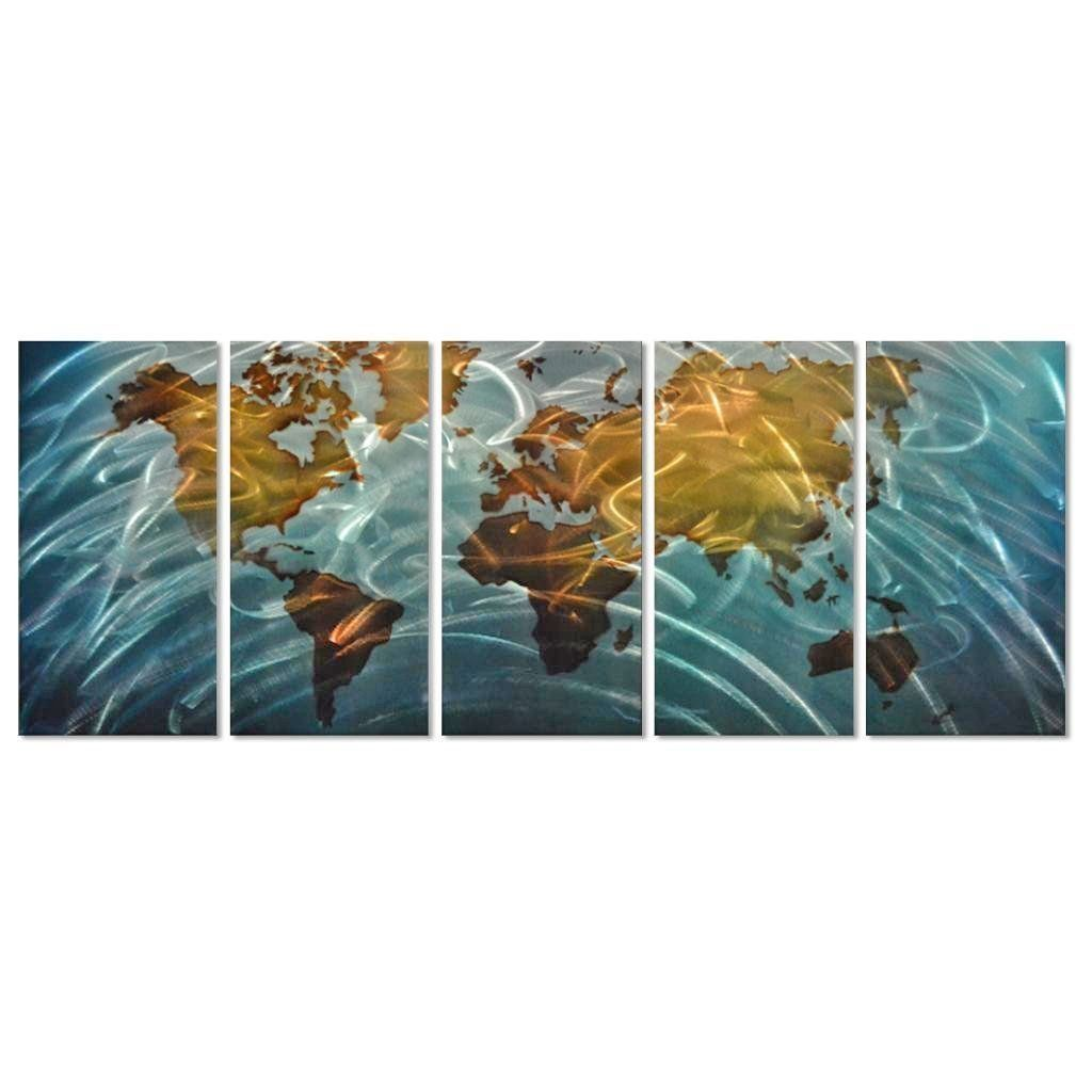 Amazon.com: Metal Wall Art, Modern Home Décor, Abstract Wall Sculpture Contemporary- World Map: Home & Kitchen