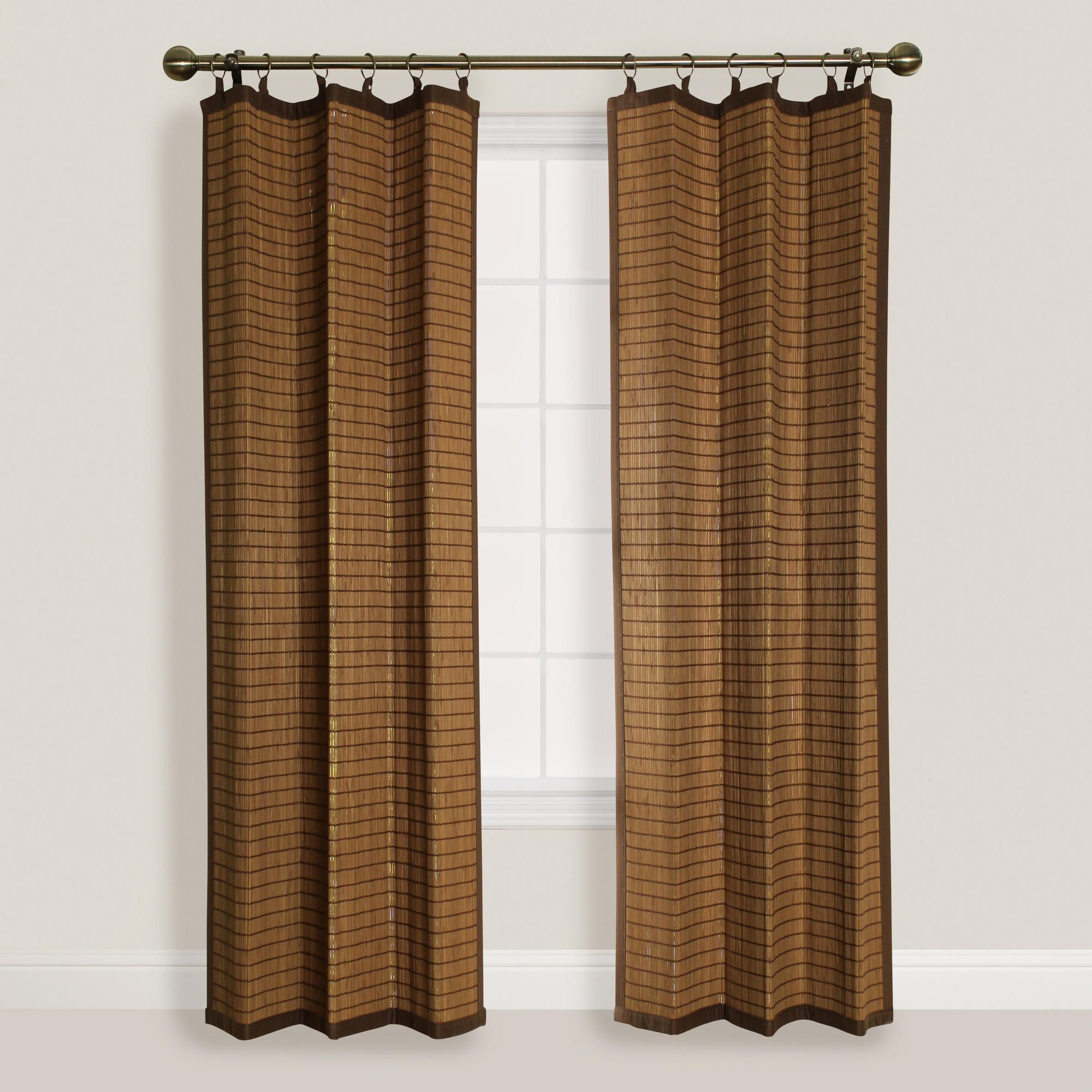 Natural Colonial Bamboo Ring Top Curtain With Images Bamboo
