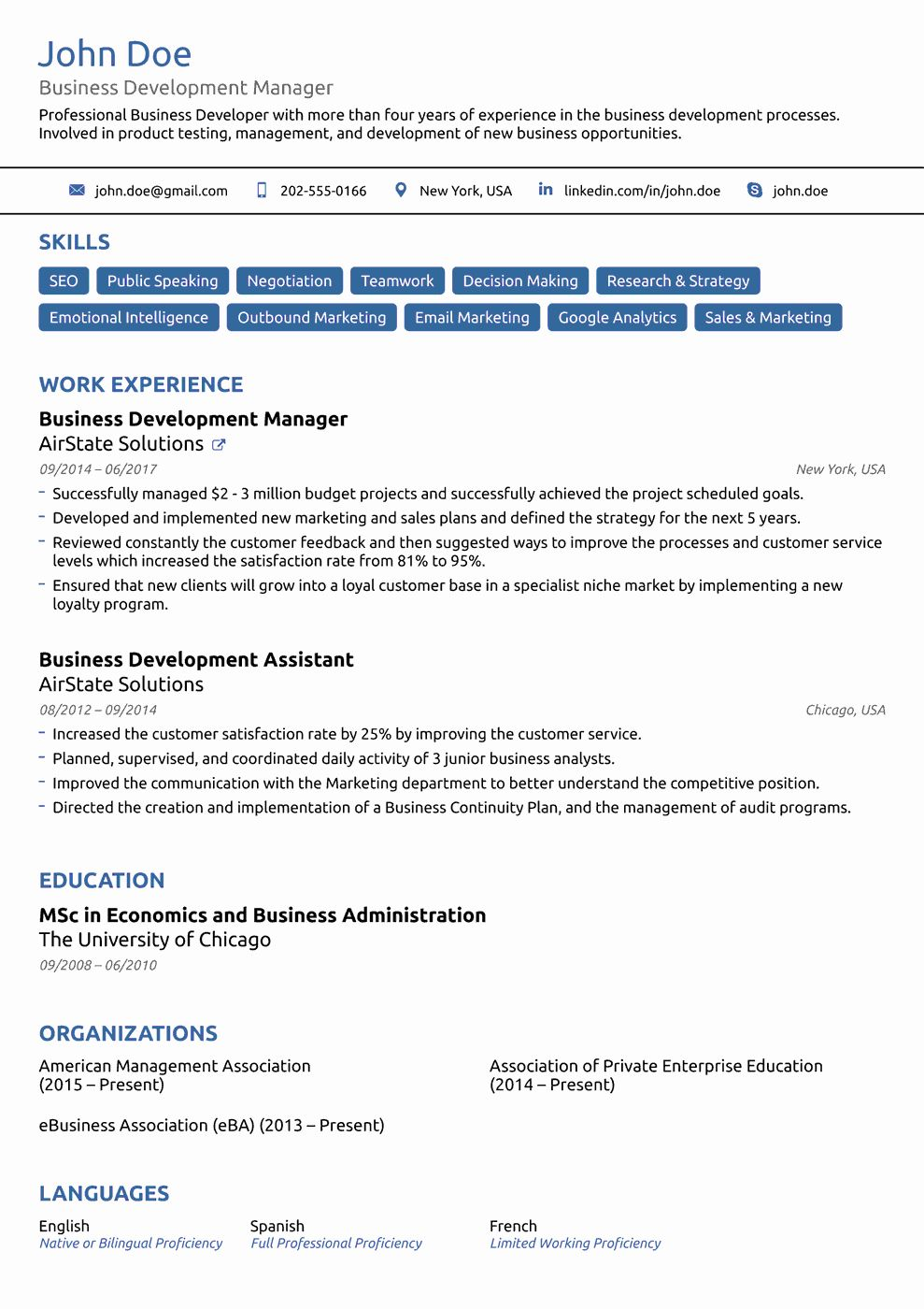 Professional Resume Template Free Inspirational 2018