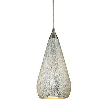 Elk Lighting Curvalo 1 Light Pendant In Satin Nickel With Silver Crackle Glass Shade