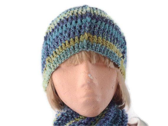 7bd4a1033cd Unisex Crochet Hat in BlueGreen   Purple. by UniquelyYourDesigns