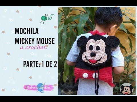 MOCHILA DE MICKEY MOUSE A CROCHET. PARTE: 1 DE 2   Labores Angélika ...