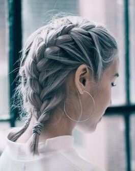 Double French Braid Grey In 2019 Braids For Short Hair