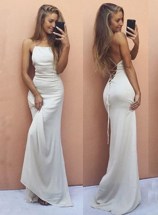 Simple White Chiffon Long Prom Dress, White Evening | prom dresses ...