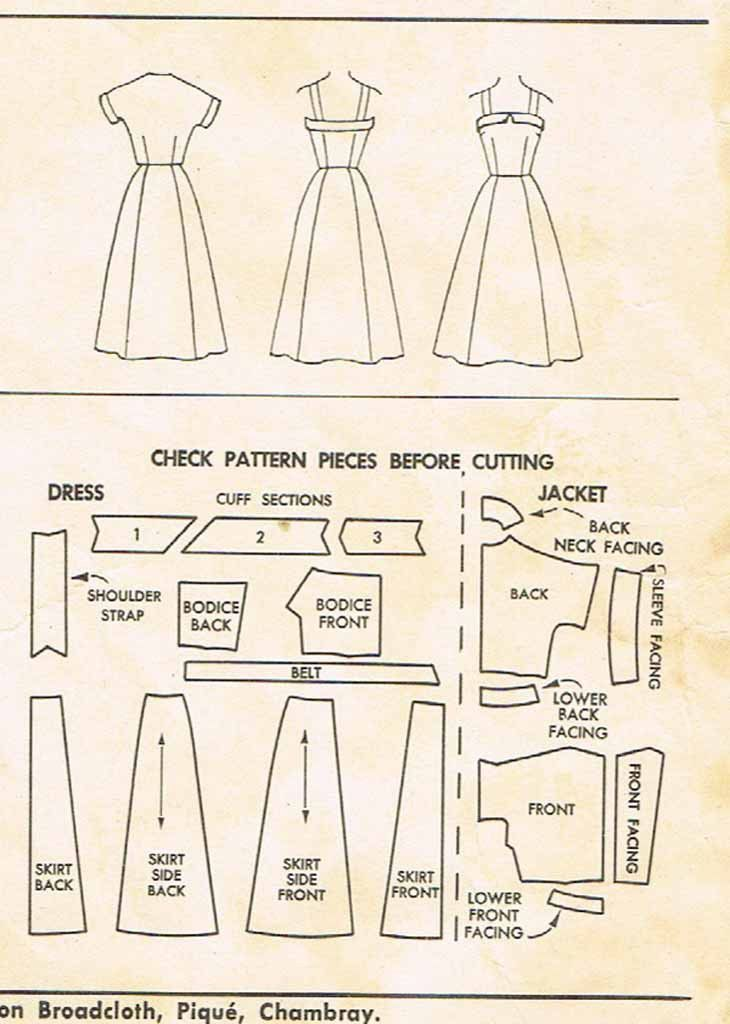 1950s Vintage Misses Sun Dress & Jacket McCalls 3191 Sewing Pattern ...