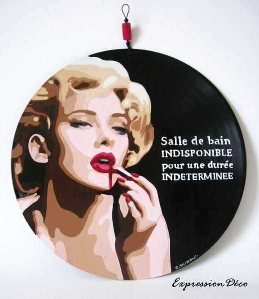 Plaque de porte ou tableau disque vinyle salle de bain indisponible pour une dur e ind termin e - Vinyle salle de bain ...
