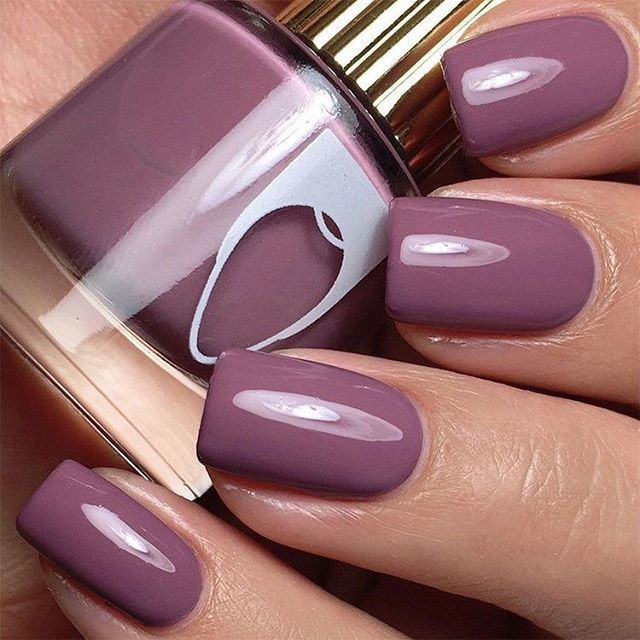 Muted purple dark mauve nails