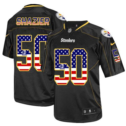 New Nike Elite Ryan Shazier Black Men's Jersey Pittsburgh Steelers #50  free shipping
