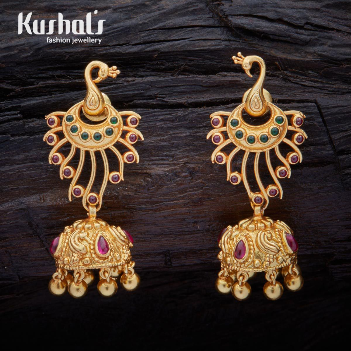 ancient south indian silver temple ruby green peacock earrings with hanging beads  u0026 studded with