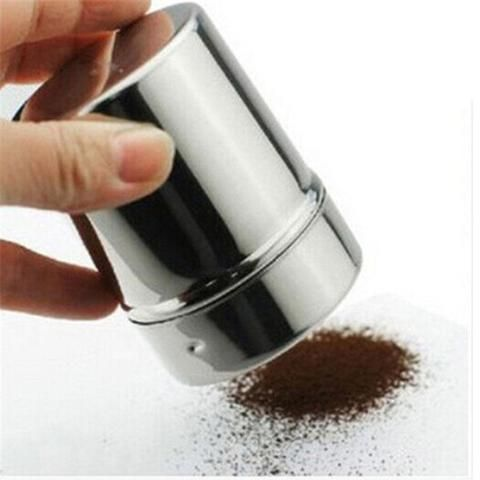 Stainless Chocolate Shaker Cocoa Flour Icing Sugar Powder Coffee Sifter Lid New