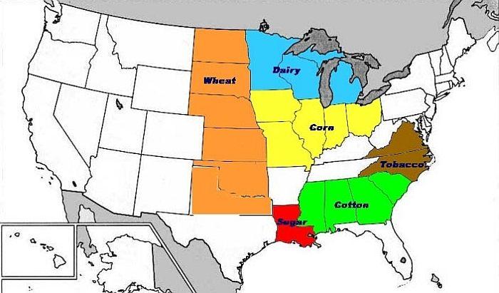 Los grandes cinturones (belt) productivos de EE.UU: maiz (naranja ...
