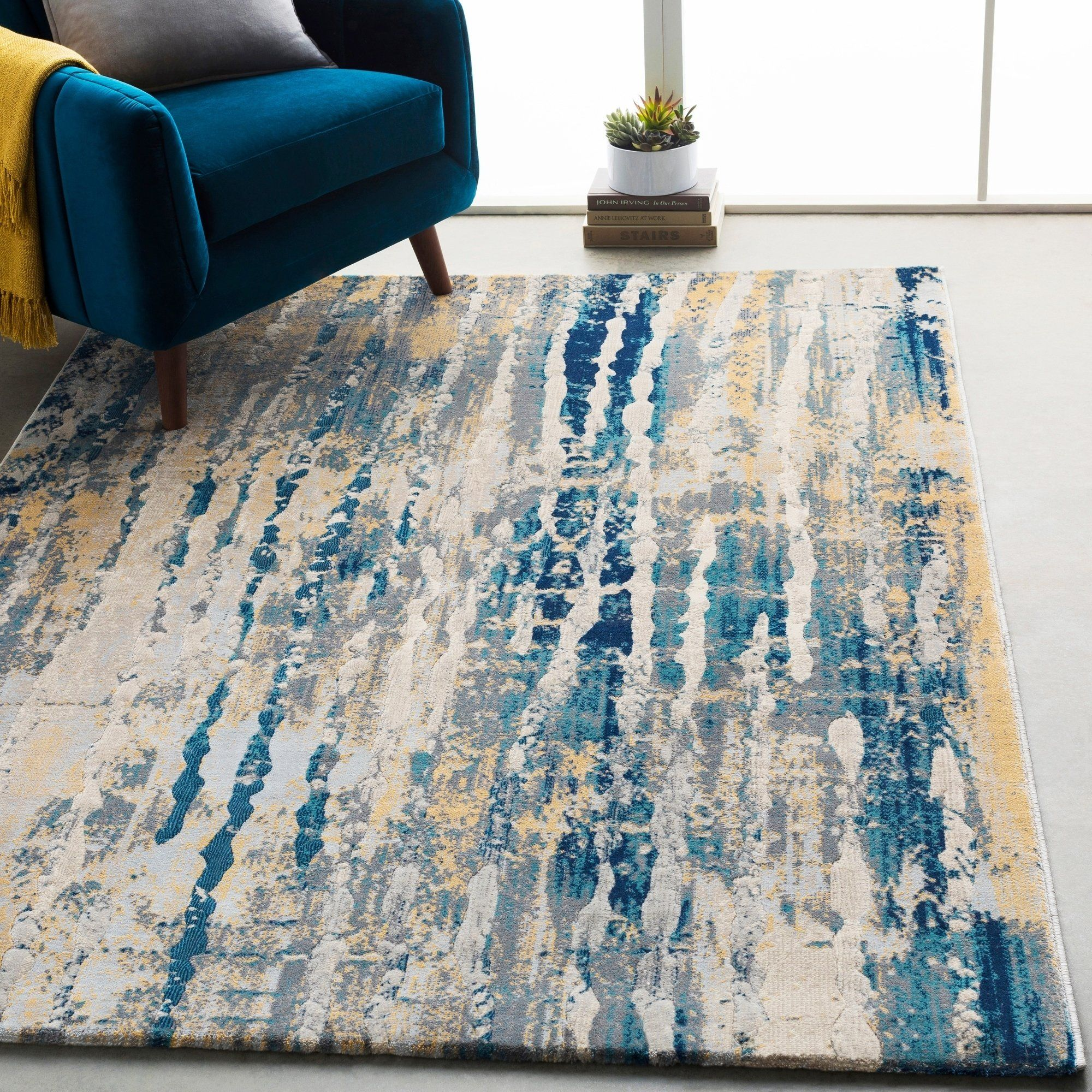 Monae Navy And Yellow Abstract Area Rug 7 10 X 10 3 Navy 7 10 X 10 3 Blue Rugs In Living Room Blue And Yellow Living Room Teal Living Rooms