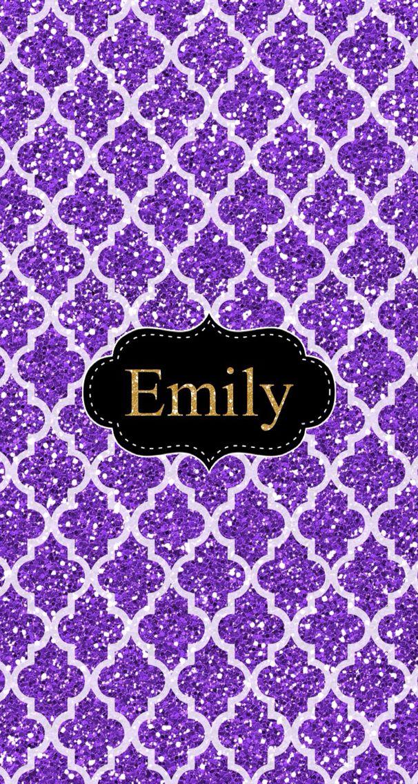 Emily Purple Glitter Background Monogram App Purple Vibe
