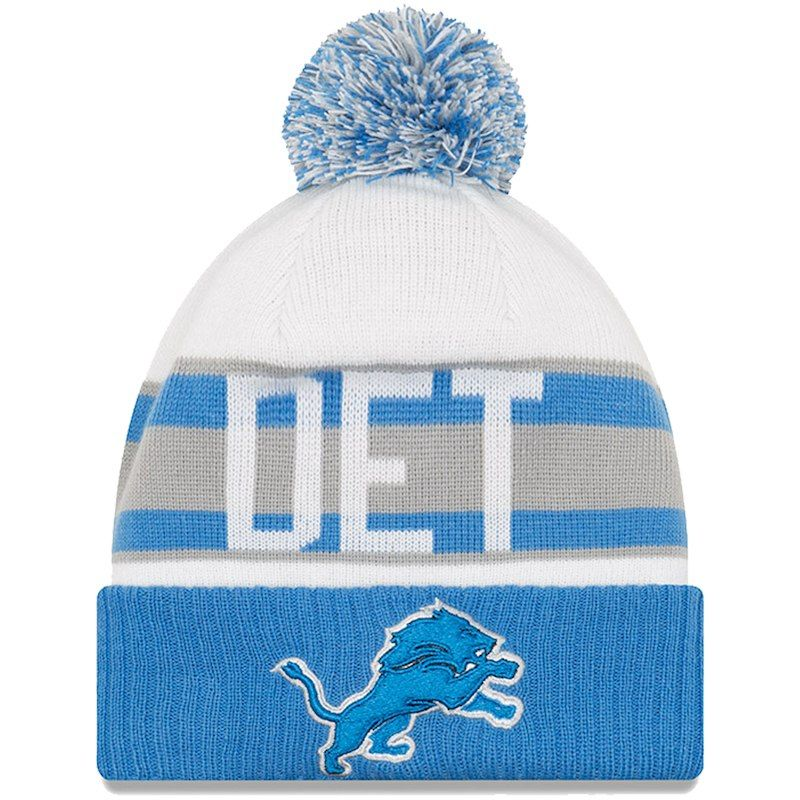 948523adaeab92 Detroit Lions New Era Youth Retro Cuffed Knit Hat With Pom – White/Blue