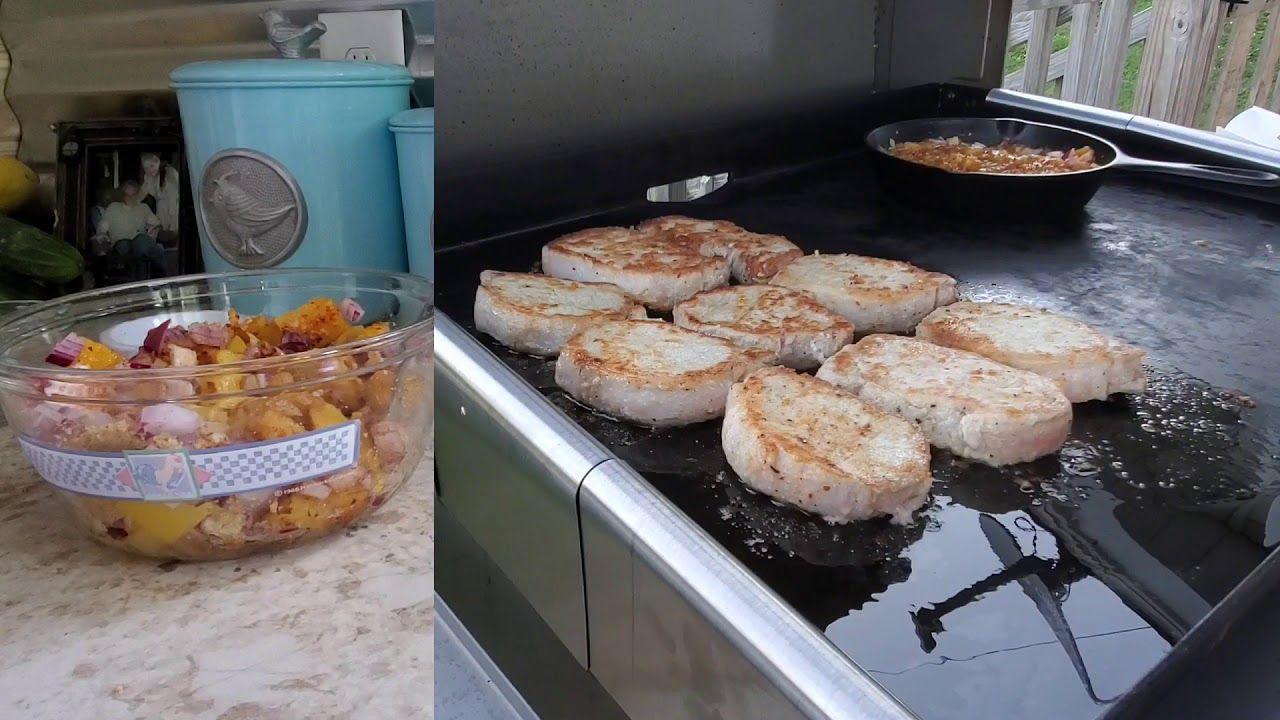 Blackstone griddle porkchops with a mango chutney