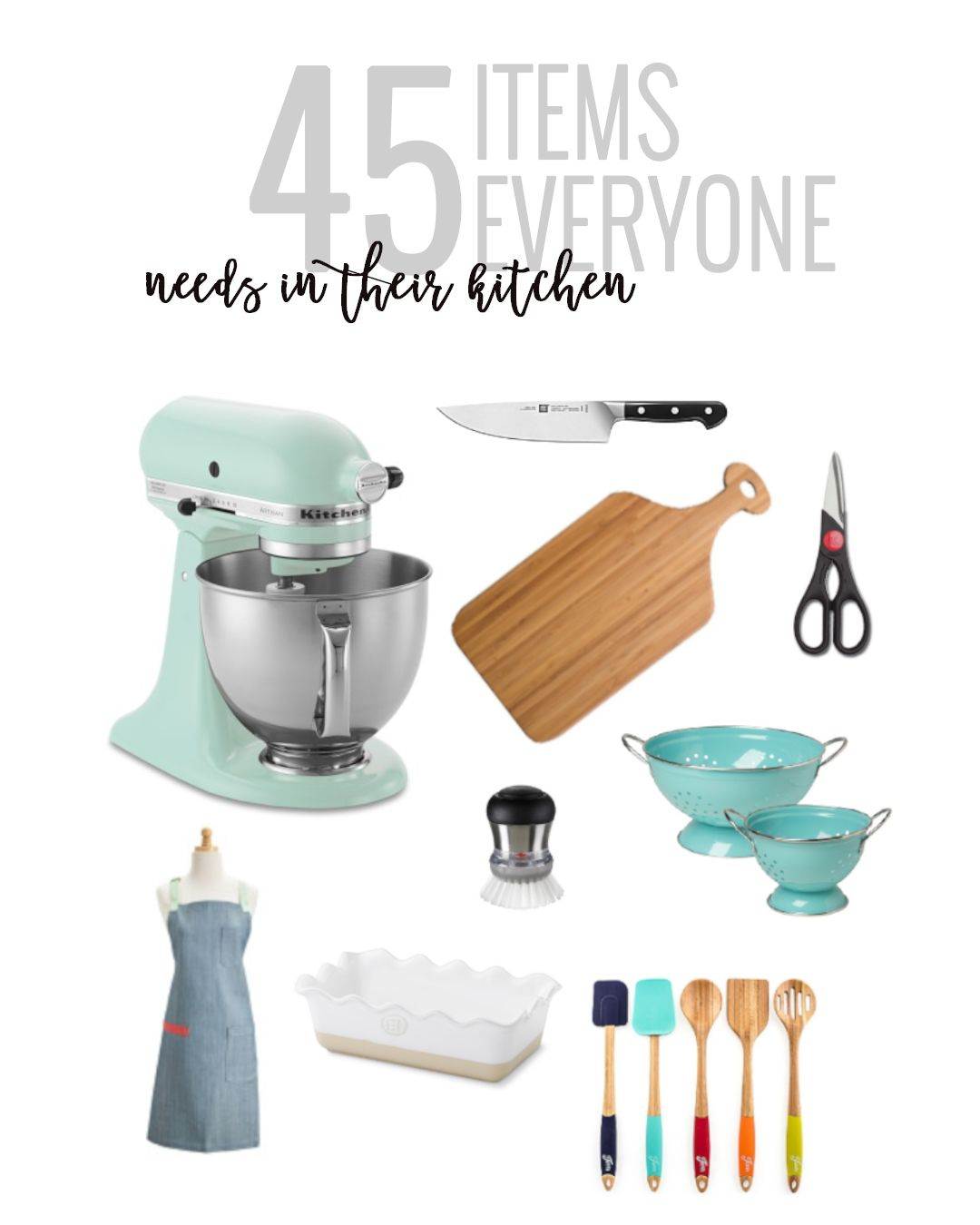 45 Items Everyone Needs In Their Kitchen is part of Kitchen essentials, Tuscan kitchen, Must have kitchen gadgets, Kitchen items, Outdoor kitchen appliances, Trendy kitchen - A complete list of all of the kitchen essentials you need! From small appliances, to gadgets, to linens  we have you covered